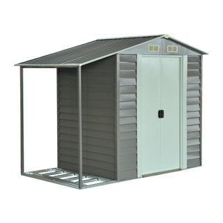 Outsunny Metal 8.5 'x 5' Outdoor Garden Storage Shed with Firewood Storage
