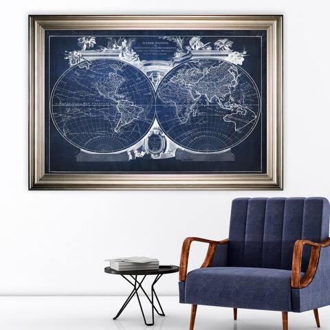 Vintage Wold Map VIII Blue -Silver Frame