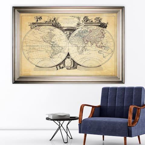 Vintage Wold Map VIII Antique -Silver Frame