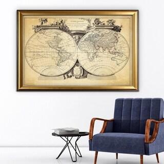 Vintage Wold Map VIII Antique - Gold Frame