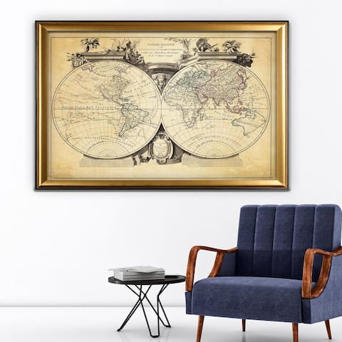 Vintage Wold Map VIII Antique - Gold Frame