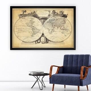 Vintage Wold Map VIII Antique - Black Frame