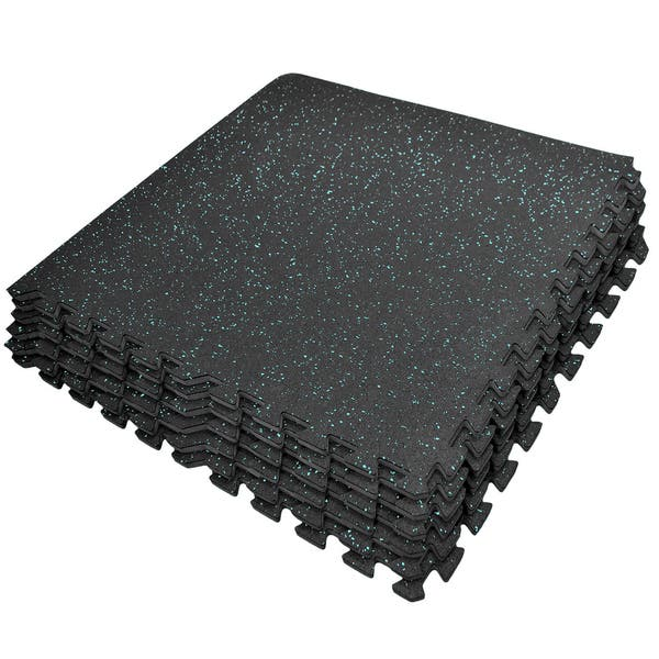 Shop Puzzle Exercise Mat High Density Rubber Interlocking Gym Tiles Blue Dots Overstock 15390705