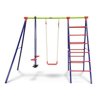 Outward Play Burke Steel A-Frame Swing Set with Glider and Ladder