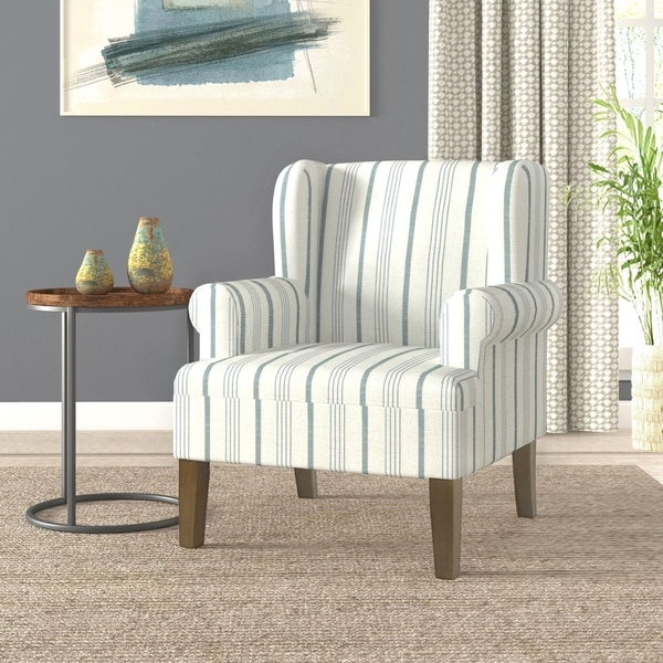 HomePop Emerson Rolled Arm Accent Chair - Blue Calypso Stripe. Opens flyout.