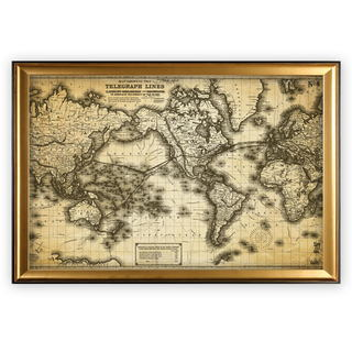 Vintage Wold Map VII Antique - Gold Frame