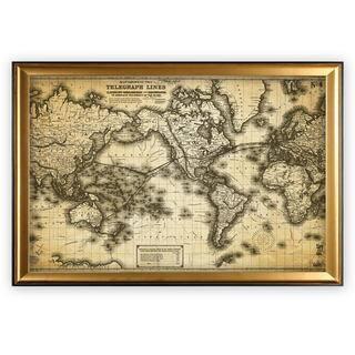 Vintage Wold Map VII Antique - Gold Frame