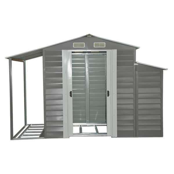 Shop Black Friday Deals On Outsunny Grey Metal 10 X 5 Outdoor Garden Storage Shed With Firewood And Side Storage Overstock 15390712
