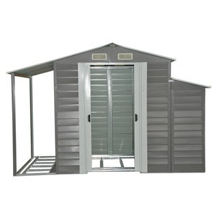 Outsunny Grey Metal 10' x 5' Outdoor Garden Storage Shed With Firewood and Side Storage