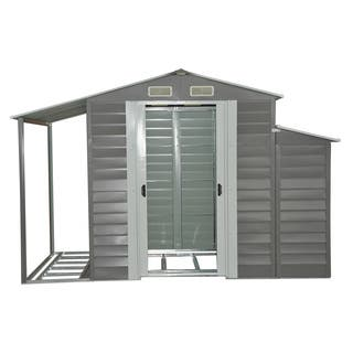 Outsunny Grey Metal 10' x 5' Outdoor Garden Storage Shed With Firewood and Side Storage|https://ak1.ostkcdn.com/images/products/15390712/P21849150.jpg?impolicy=medium