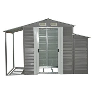 Outsunny Grey Metal 10u0027 X 5u0027 Outdoor Garden Storage Shed With Firewood And  Side