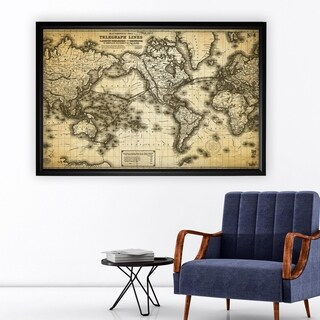 Vintage Wold Map VII Antique - Black Frame