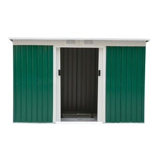 Outsunny Outdoor Green/White Metal 9' x 4' Garden Storage Shed