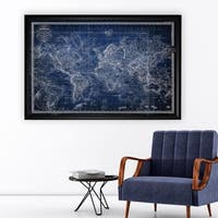 Vintage Wold Map v Blue - Black Frame
