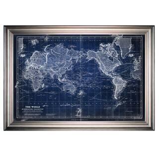 Vintage Wold Map VI Blue -Silver Frame
