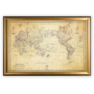 Vintage Wold Map VI Antique - Gold Frame