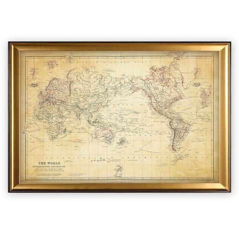 Vintage Wold Map VI Antique - Gold Frame