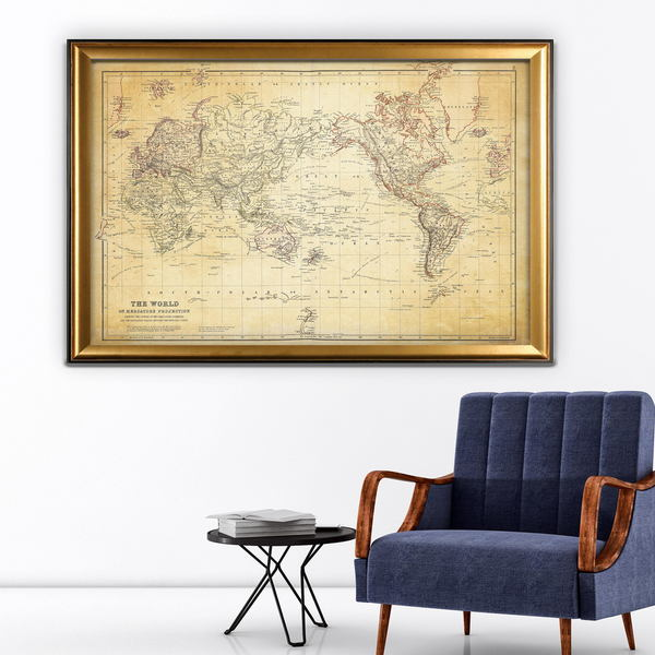 Shop Vintage Wold Map Vi Antique Gold Frame On Sale Free