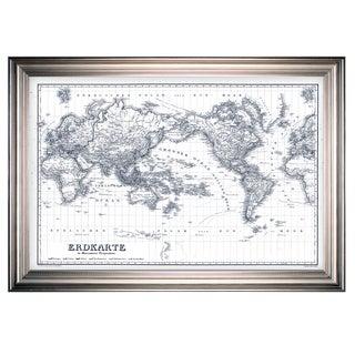 Vintage Wold Map IV Blue Outline -Silver Frame