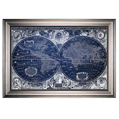 Blue Treasure Map -Silver Frame