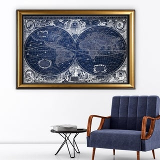 Blue Treasure Map - Gold Frame