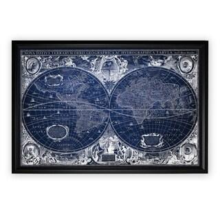 Blue Treasure Map - Black Frame