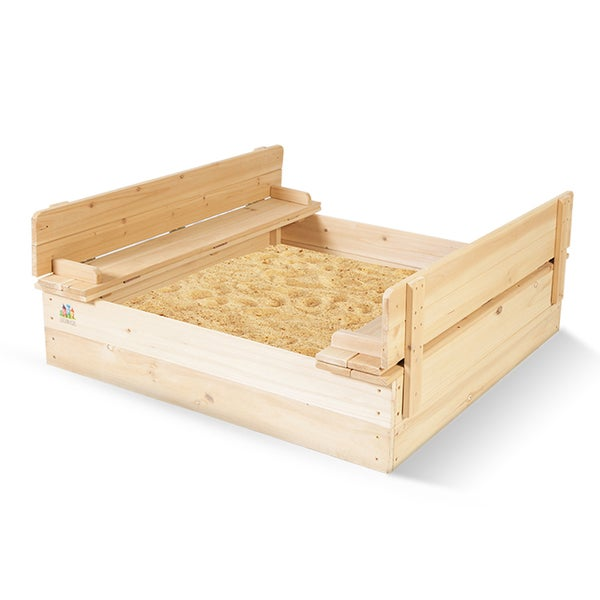 Outward Play Strongbox Convertible Square Sandbox with Two Bench Seats