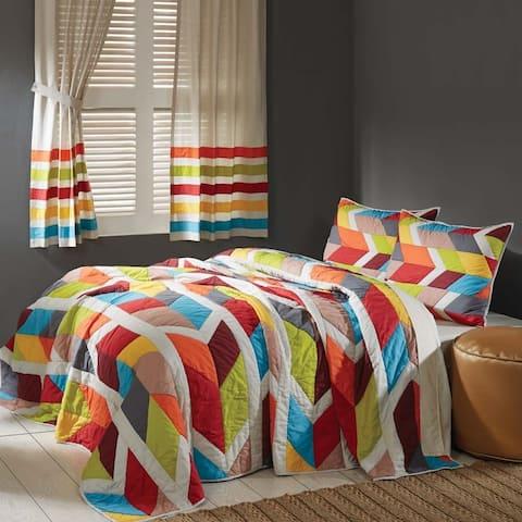 White Bohemian Bedding VHC Rowan Quilt Set Cotton Linen Blend Geometric Patchwork Flax (Quilt, Sham)