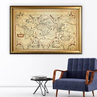 Vintage Wold Map III Parchment - Gold Frame