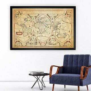Vintage Wold Map III Parchment - Black Frame