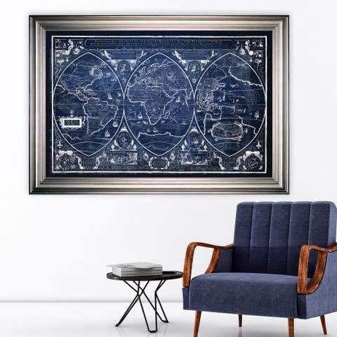 Vintage Wold Map III Blue -Silver Frame