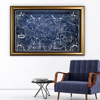 Vintage Wold Map III Blue - Gold Frame