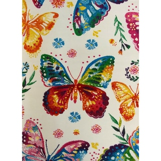 KC CUBS Multicolor Rainbow Butterfly Boy and Girl Bedroom Modern Decor Area Rug For Kids and Children