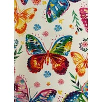 """KC CUBS Multicolor Rainbow Butterfly Boy and Girl Bedroom Modern Decor Area Rug For Kids and Children (3' 11"""" x 5' 3"""")"""