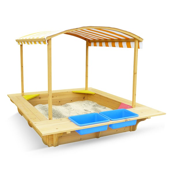 Outward Play Playfort Outside Activity Sandbox with Canopy Cover