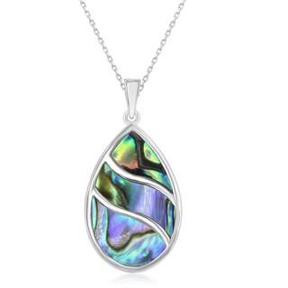 "La Preciosa Sterling Silver Abalone Wave Design Teardrop Pendant 18"" Necklace"
