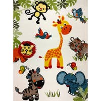KC CUBS Happy Animal Nursery Friends Boy and Girl Bedroom Modern Decor Area Rug For Kids and Children - 3'11 x 5'3