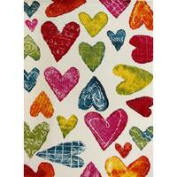 """KC CUBS Colorful Hearts Boy and Girl Bedroom Modern Decor Area Rug and Carpet Collection For Kids and Children (3' 11"""" x 5' 3"""")"""