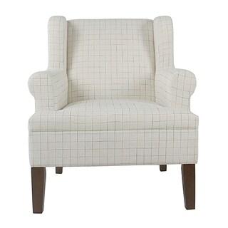 homepop emerson rolled arm accent chair cream windowpan