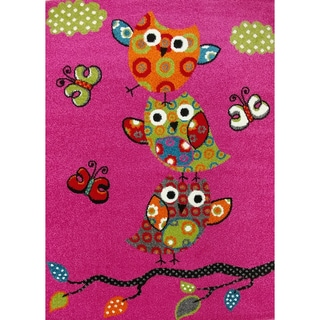 KC CUBS Pink Owl and Butterfly Boy and Girl Bedroom Modern Decor Area Rug For Kids and Children