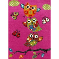 KC CUBS Pink Owl and Butterfly Boy and Girl Bedroom Modern Decor Area Rug For Kids and Children - 3'11 x 5'3