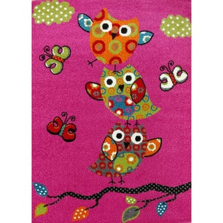 """KC CUBS Pink Owl and Butterfly Boy and Girl Bedroom Modern Decor Area Rug For Kids and Children (3' 11"""" x 5' 3"""")"""