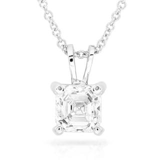 Annello by Kobelli 14k White Gold 2/5 Carat Asscher Solitaire Diamond Necklace (H-I, SI1)