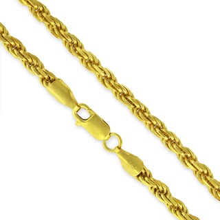 .925 Sterling Silver 4mm Solid Rope Diamond Cut Yellow Gold Plated Chain Necklace