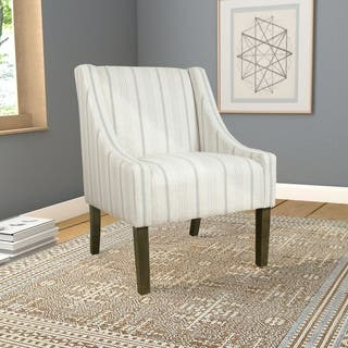 HomePop Modern Swoop Accent Chair - Dove Grey Stripe