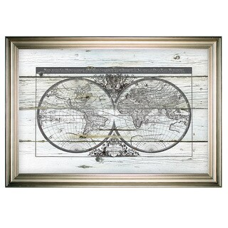 World Map Hemispheres -Silver Frame