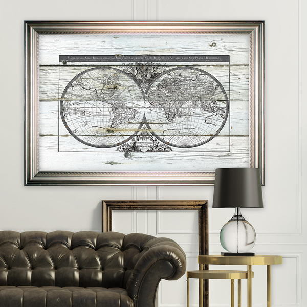 Shop World Map Hemispheres Silver Frame On Sale Free Shipping