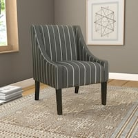 Palm Canyon Leslie Modern Swoop Accent Chair - Charcoal Stripe
