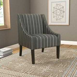 Porch & Den Los Feliz Lyric Charcoal Stripe Swoop Accent Chair