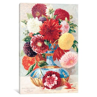 iCanvas Childs' New, Rare & Beautiful Flowers Series: Dahlias From Seed by New York Botanical Garden Canvas Print
